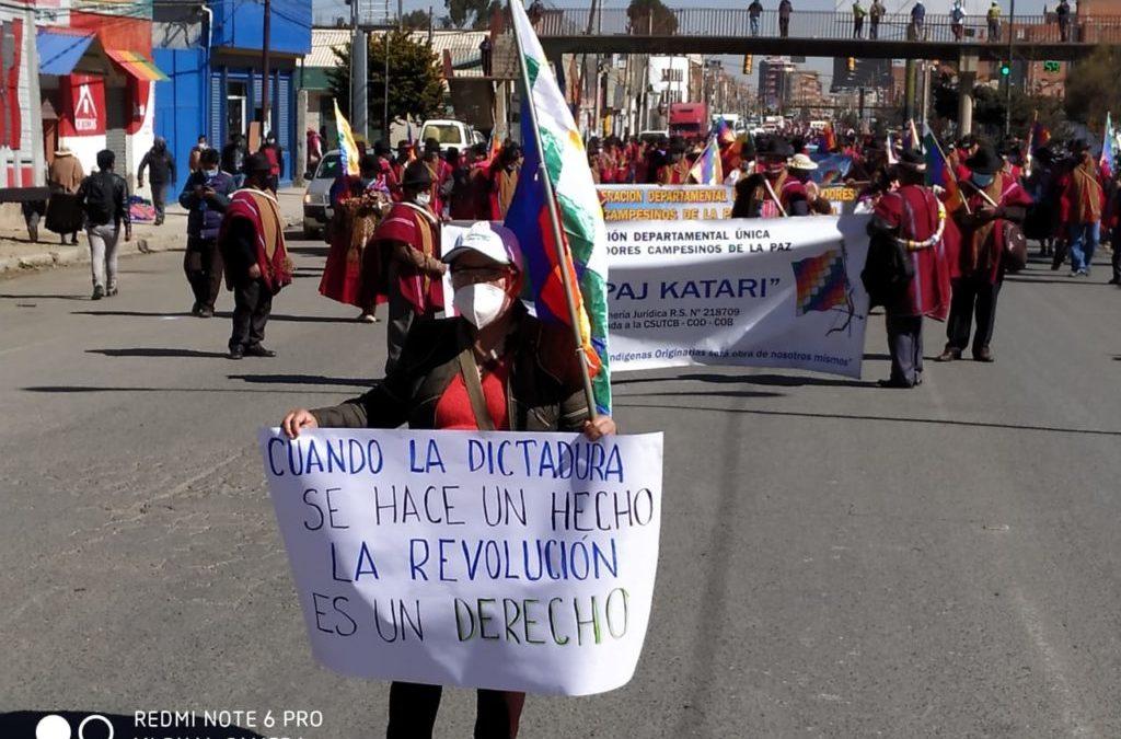 Bolivia: Multitudinaria marcha contra la dictadura y reafirmando la fecha electoral del 6 de septiembre
