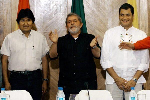 Evo Morales, Lula da Silva y Rafael Correa