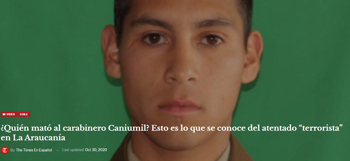 """¿Quién mató al carabinero Caniumil? Esto es lo que se conoce del atentado """"terrorista"""" en La Araucanía. Video"""