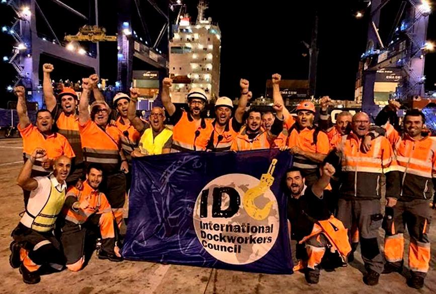 Los trabajadores portuarios chilenos y del mundo solidarizan con la situación política y económica que enfrentan los trabajadores chilenos