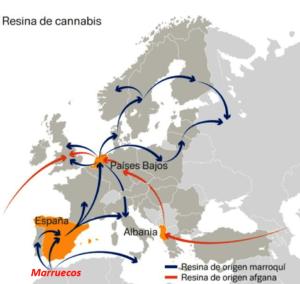 """Principales flujos de tráfico de cannabis en Europa. Vía """"Informe sobre los mercados de drogas en la UE"""", EUROPOL"""