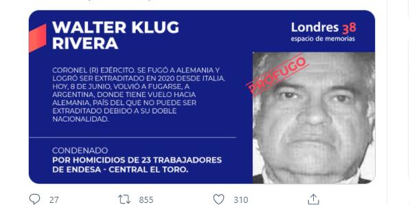 Walter Klug, asesino de 23 trabajadores de ENDESA, se ha fugado y trata de huir a Alemania