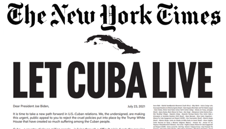 Carta a Biden en The New York Time: «Deja vivir a Cuba»